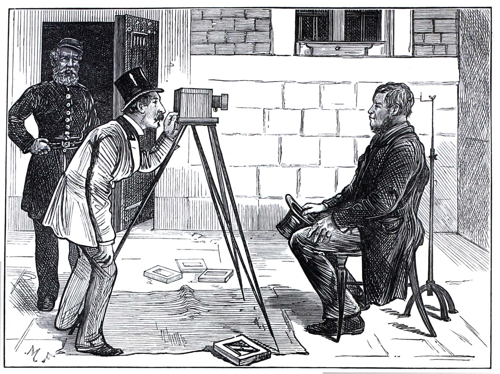 A prisoner at Newgate Prison having his photo taken for the prison records, from 'sketches of Newgate' published in theIllustrated London News in 1873