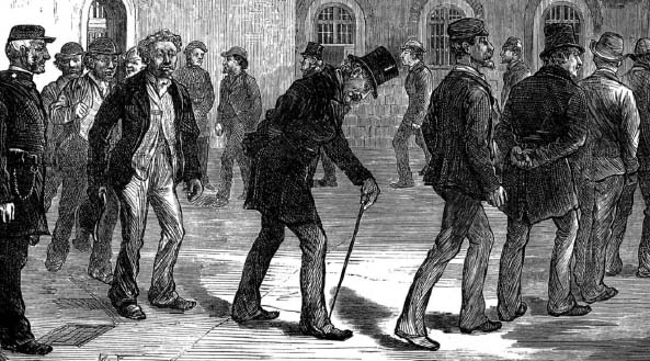 Prisoners exercising at Newgate Prison, shown in the Illustrated London News - available at TheGenealogist