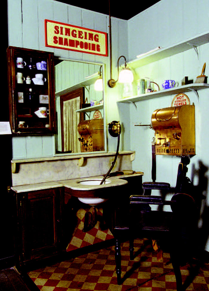 A reconstruction of a barber's shop