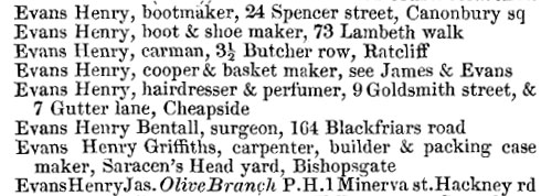 Henry Evans in Kelly's 1856 London directory