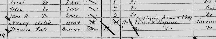 Nancy Astin in the 1881 census
