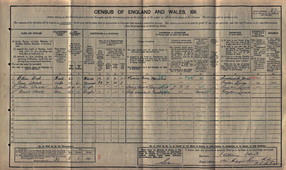 John Wood in the 1911 census