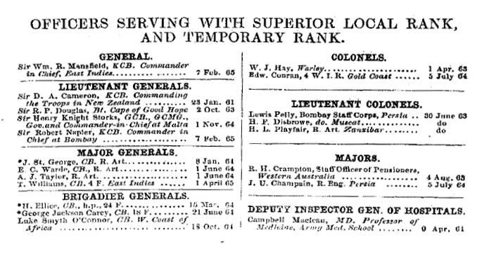 Hart's Army List for April 1865