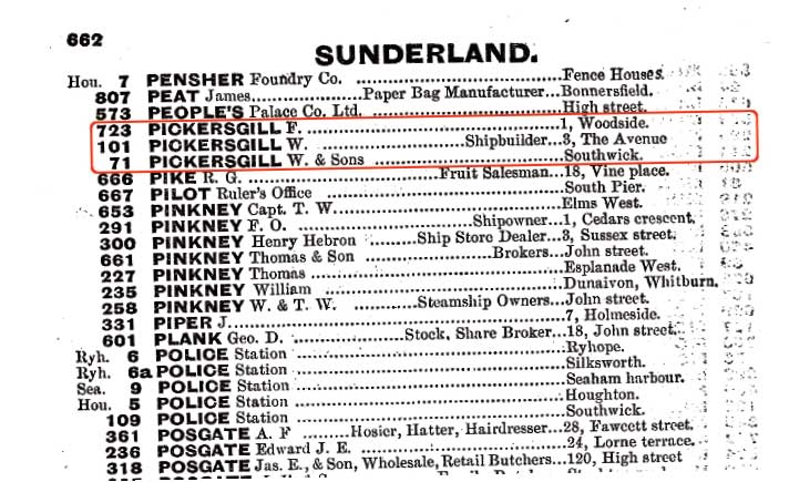 Pickersgill record in telephone directory