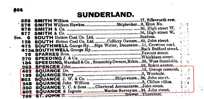 Squances record in telephone directory