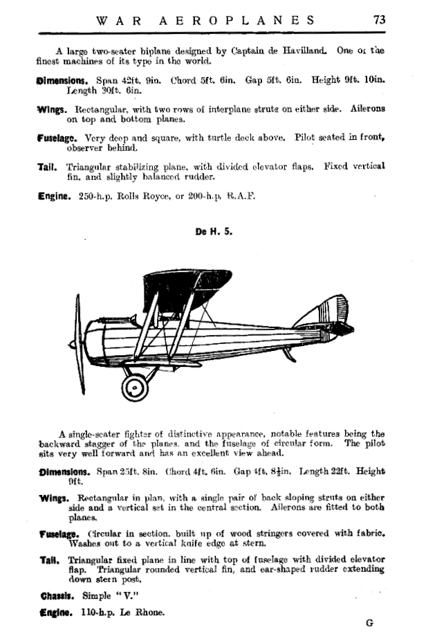 Illustration of a De Havilland 5 biplane in The Flying Book 1918