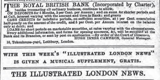 Advertisement in the Illustrated London News, 21 February 1852