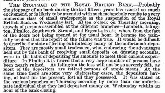 The stoppage of the Royal British Bank