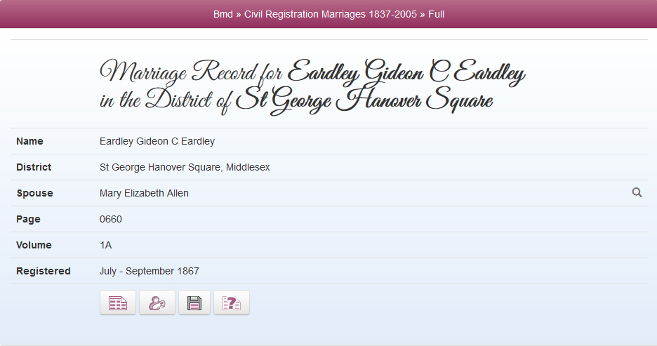 Marriage 1867 in St George Hanover Square