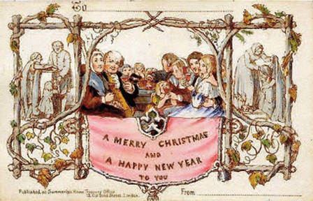 The first commercially produced Christmas card