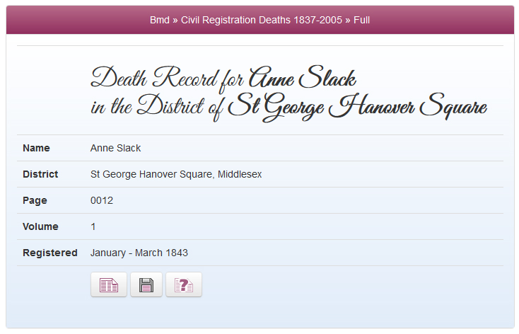 Anne Slack's death record