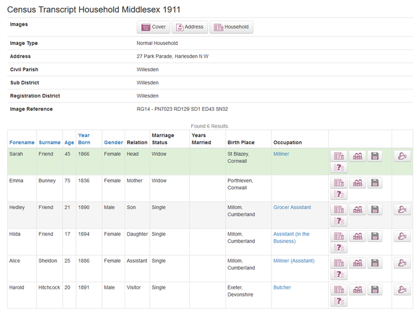 Middlesex 1911 Census