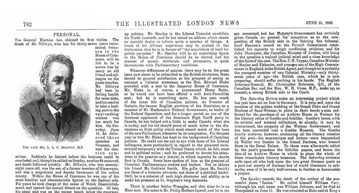 Obituary in the Illustrated London News